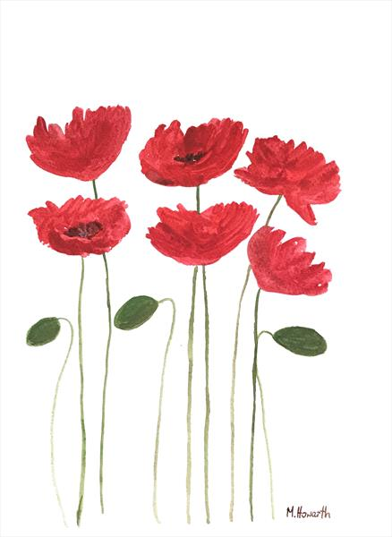 Red poppies flowers by Monika Howarth
