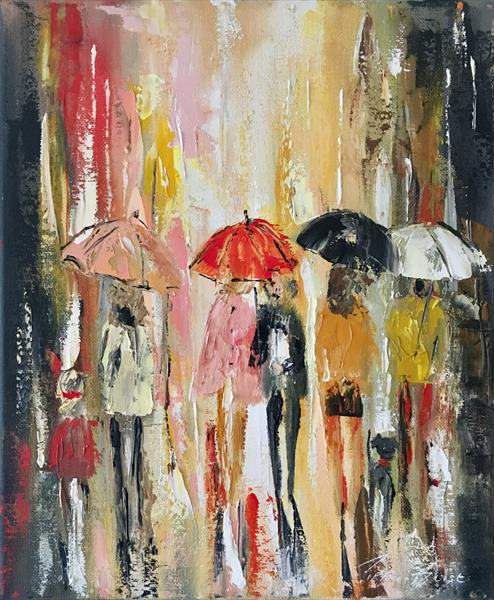 Four umbrellas (Small)  by Pippa Buist