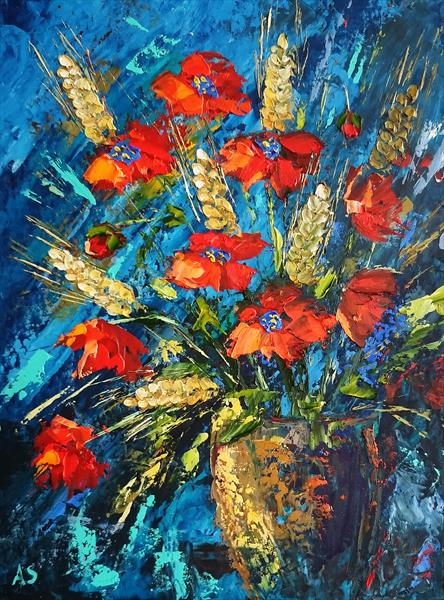 RED POPPIES WITH SPIKELETS; ORIGINAL PALETTE KNIFE OIL PAINTING, FRAMED by Alena Shymchonak