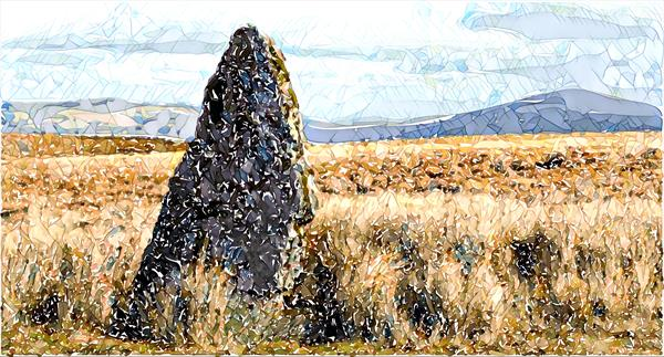 'STANDING STONE' - A CRUSHED GLASS PAINTING by Tony Roberts