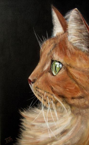 Realistic Portrait a ginger Cat by Ira Whittaker