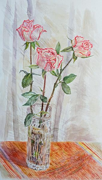 Three Roses in a Glass Vase by Patricia Buckley