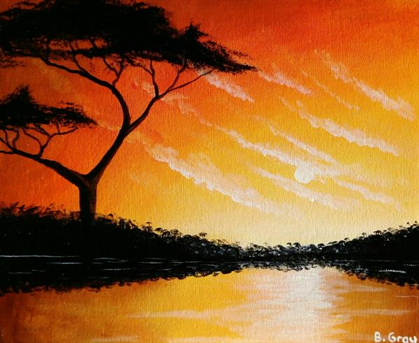 Sunset over the Lake by Barry John Gray