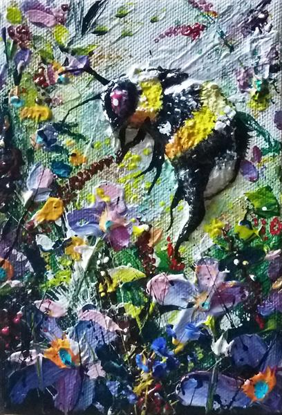 Bumble bee art - 'Pleasing Purples'
