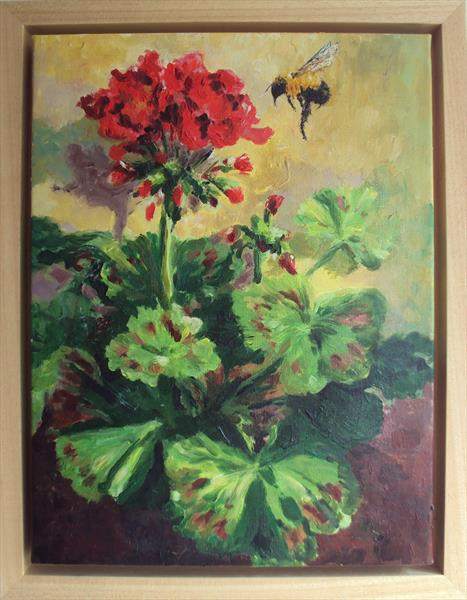 Red Geranium, Bumble Bee