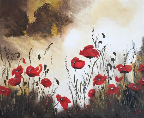 Poppies under a stormy sky by Marja Brown
