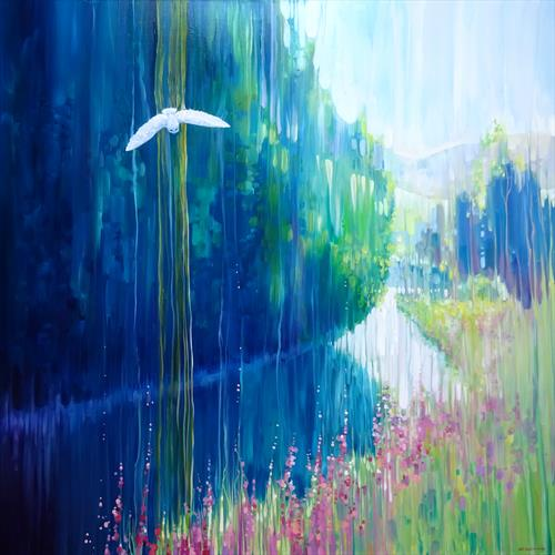 Enchanted - a white owl in a summer landscape large original oil painting by Gill Bustamante