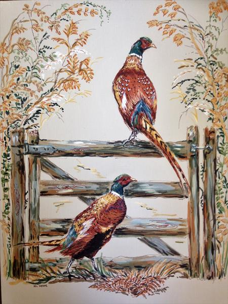 Pheasants on lookout by nicola kevane