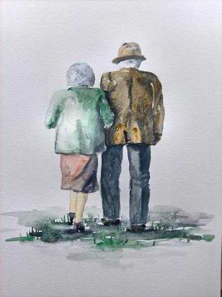 Together. Old Couple walking together by Marjan's Art
