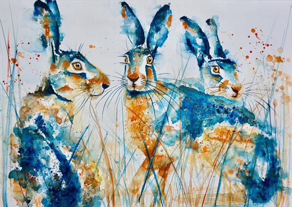 Three Inquisitive Hares 70x50cm