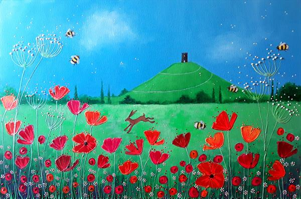 Summer Poppies by the Tor by Angie Livingstone