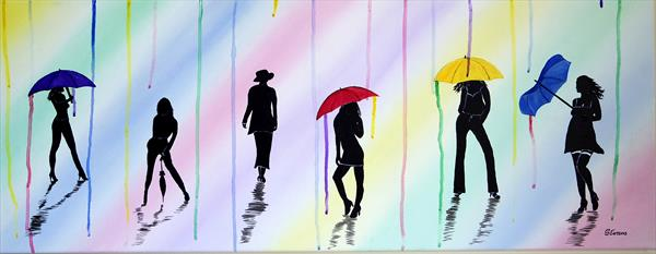 ENGLISH SUMMER RAINBOW UMBRELLAS by Graham Evans