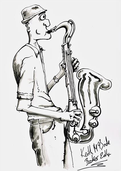 LONDON BUSKER INK DRAWING BY KEITH MCBRIDE by Keith Mcbride