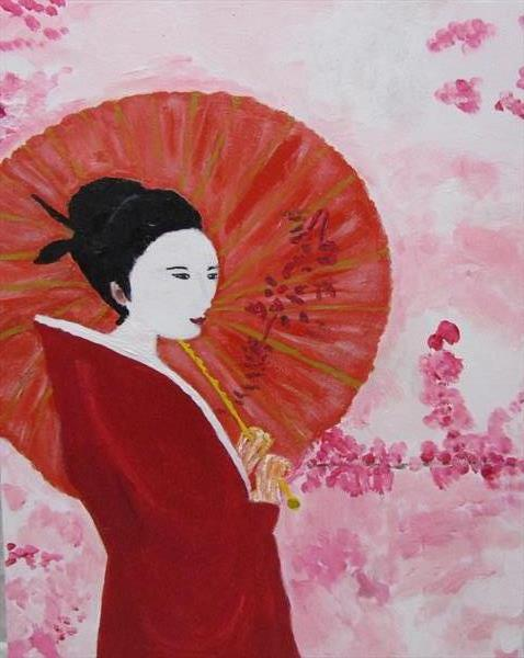 Lady in a red kimono by Francoise Booth