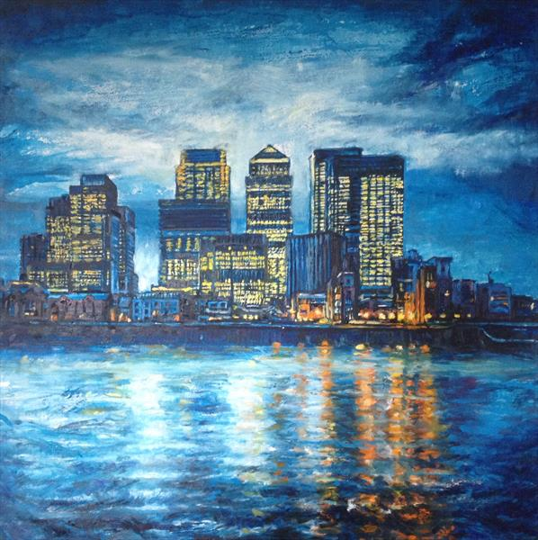 Canary Wharf reflections by Patricia Clements