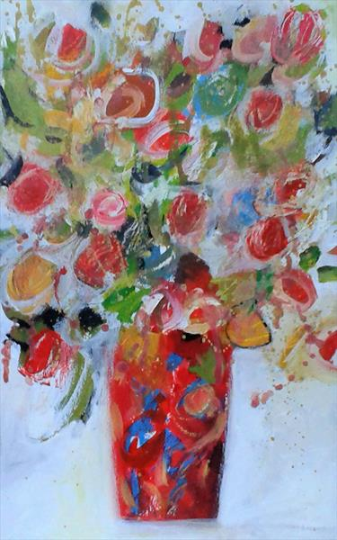 Mixed Flowers in a Red Vase by Jan Rippingham