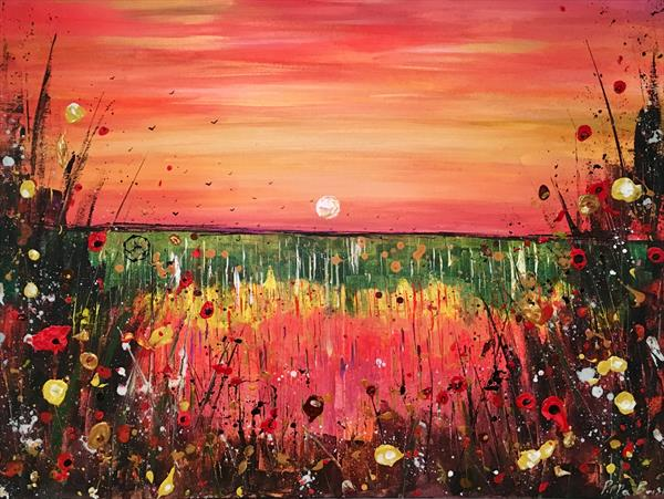 Orange sky's over meadows by Pippa Buist