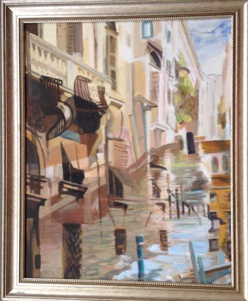 Balconies, windows, shutters and reflections. by Pamela  Riddoch