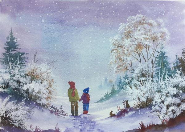 Snow Flurry. Large Original watercolour by Pamela J West by Pamela West