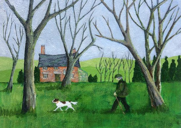 Walking the dog past the old house by Teresa Hodges