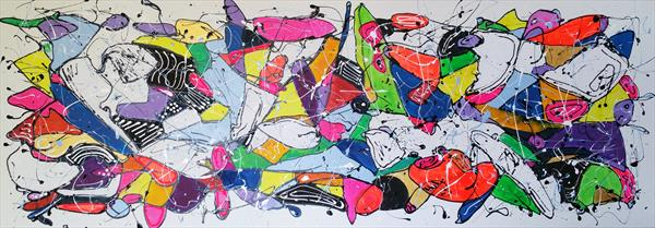 "67''x 23,5""( 170x60cm), Unusual thoughts 4,  colorful art by Veronica Vilsan"