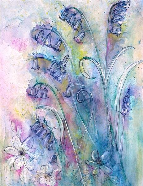 Bluebells and wood anemones by Helena Manchip