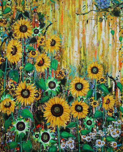 The Sunseekers - Large Painting by Angie Wright