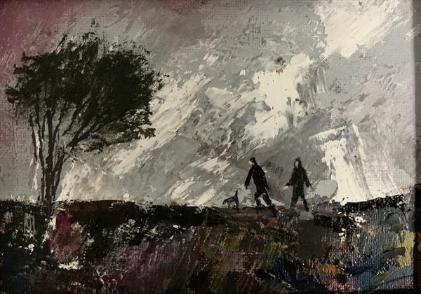 The Stormy moorland ramble ( framed original oil) by Sarah Gill