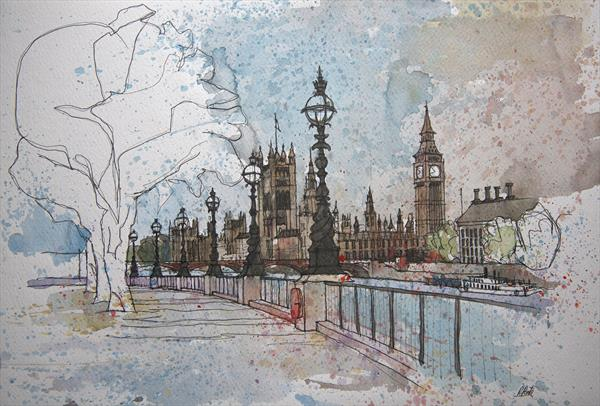London, Houses of Parliament and Westminster bridge by Roberto Ponte
