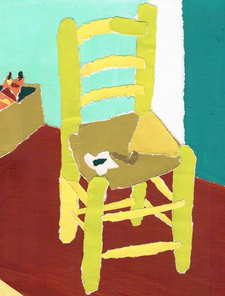 collage after van gogh chair  by Maureen Lacey