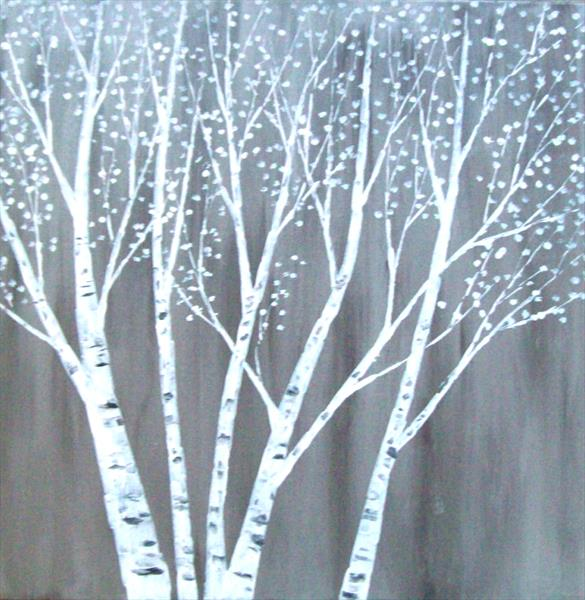 White Silver Birch Trees by Patricia Richards