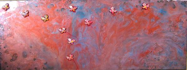 Red butterflies  by Fiona Robinson