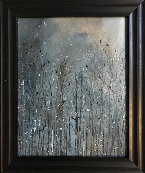 The Rookery in a snowstorm ( framed original oil painting ) by Sarah Gill