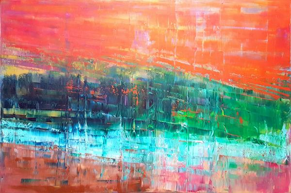 Sky fall - large abstract palette knife painting by Ivana Olbricht