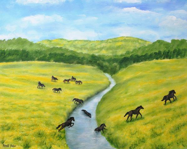 Horses  Crossing The  River Tamar by Ronald Haber