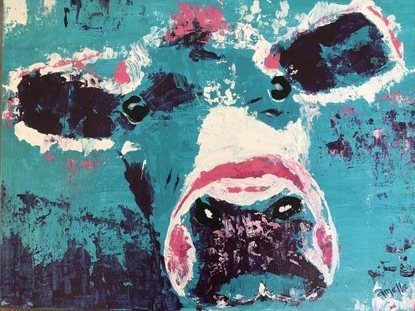 Bella cute cow original artwork by Amelle Eley