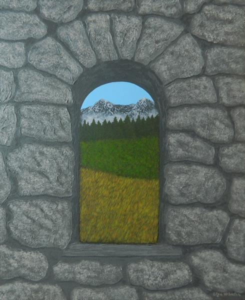 Testimony to Time - window to natural beauty country landscape  by Liza Wheeler
