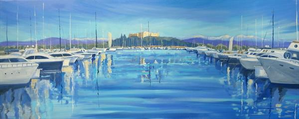 Antibes Harbour in Morning Sun by Mary Stubberfield