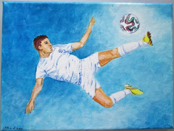 Footballer giving it his best shot. Ready to hang by Marjan's Art