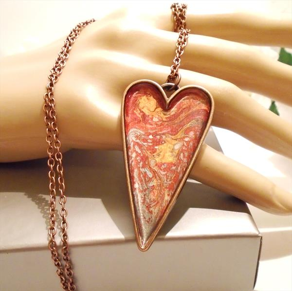 Hand Painted Copper Heart Pendant with Long Chain by Brenda Newton