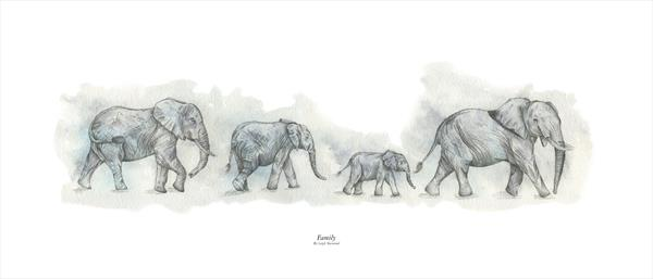 Family - Herd Of Elephants  by Leigh  Townsend