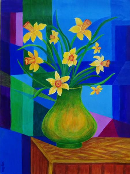 Daffodils in the Vase by may than