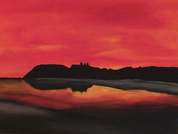 Sunset over Llansteffan Limited Edition Print by Pauline Thomas
