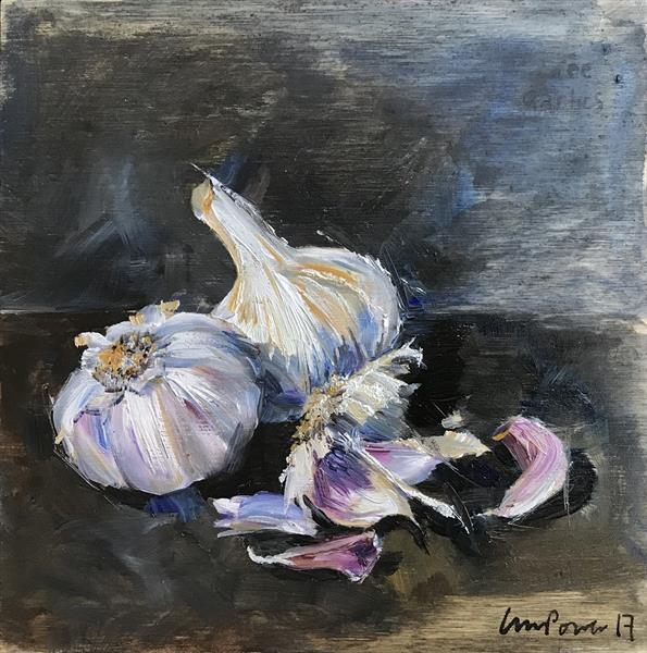 'Three Garlics' - FRAMED still life oil painting on board by Luci Power
