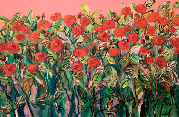 Red Roses Garden by wanida mchugh