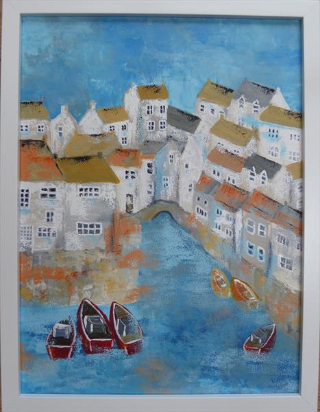 Polperro Harbour Colours by Elaine Allender