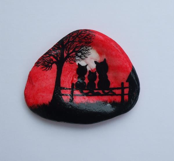 Cats Family: Miniature Painting on Seashell by Claudine Peronne