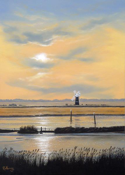 Sunset over Berney Arms Mill by Keith Hastings