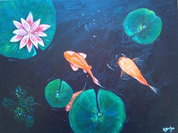Fish in Lilly Pond by Karla Burton