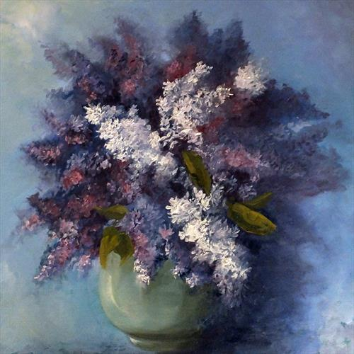 Lilacs in a Blue Bowl FRAMED by Elizabeth Williams